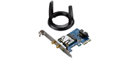 ASUS WiFi Adapter PCI-E PCE-AC55BT  (PCI-Ex1,  Dual-band  (2.4GHz / 5GHz),  WLAN 1.2Gbps,  802.11ac,  +Bluetooth 4.0) 2x ext Antenna