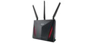 ASUS WiFi Router RT-AC86U  (WLAN 2900Mbps,  Dual-band 3x2.4GHz+4x5GHz,  802.11ac+4xLAN RG45 GBL+1xWAN GBL+1xUSB3.0+1xUSB2.0) 3x ext +1x int.  Antenna