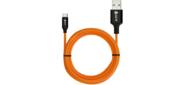 Greenconnect GCR-51751 Кабель 3A 5.0m TypeC,  для зарядки,  оранжевый,  алюминиевый корпус черный,  черный ПВХ,  22AWG,  NO Sync data!