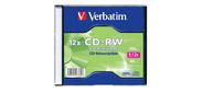 Диск CD-RW 700МБ 8x-12x Verbatim 43762 Slim  (oem)