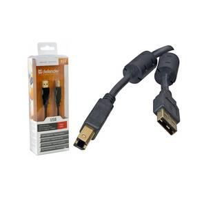 Кабель Defender USB 2.0 AM-BM,  блистер,  зол.конт,  2фер.фильтра  (PROFESSIONAL SERIES),  3м