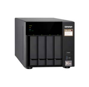 QNAP TS-473-4G NAS AMD quad-core 2.1 GHz up to 3.4 GHz ,  4GB DDR4 up to 64GB,   4-tray w / o HDD,  2xM.2 SSD Slot. 4x Gigabit LAN