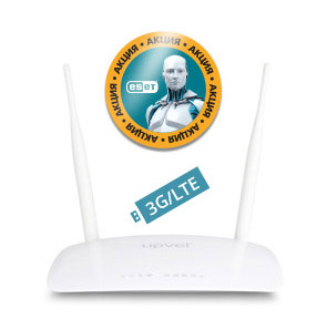 UPVEL UR-326N4G ARCTIC WHITE 3G / LTE Ethernet Wi-Fi 802.11n 300 Мбит / с c USB-портом с поддержкой 3G / LTE backup,  8 / 32 MB памяти,  OpenWRT,  FTP,  Print-server и двумя съемными антеннами 5 дБи  (поддерживает все модели LTE модемов YOTA,  МТС,  Мегафон)