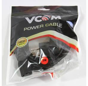 Кабель компьютер-розетка 220V  (EURO) <VDE> 3G*0, 5mm2 VCOM {CE021-CU} 3 метра