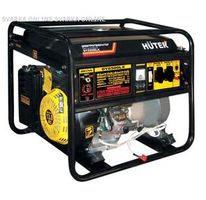 Huter DY6500LX Электрогенератор электростартер четырехтактный, 5000Вт,  220В / 50Гц, 81Дб, принудит охлаждение, бак 22 л, расход бенз 374 г / кВтч, расход масла 6, 8 г / кВтч,  габариты700х535х570 вес 74кг