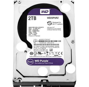 "Western Digital WD20PURZ Purple 2Tb,  3.5"",  SATA-III,  IntelliPower,  64Mb buffer,   (DV & NVR)"