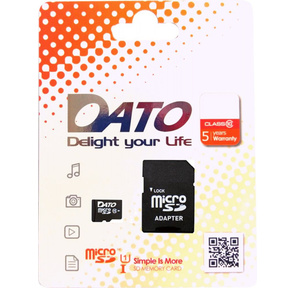 Флеш карта microSDHC 16Gb Class10 Dato DTTF016GUIC10 + adapter