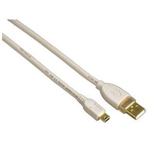 Hama H-78468 Кабель USB 2.0 A-mini B  (m-m) 1.8м,  позолоченные контакты,  экранированный,  белый