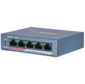 Hikvision DS-3E0105P-E / M (B) 4 RJ45 100M PoE с грозозащитой 6кВ; 1 Uplink порт 100М Ethernet: бюджет PoE 35Вт; поддерживают режим передачи до 250м; таблица MAC адресов на 1000 записей;