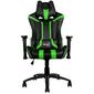 Кресло для геймера Aerocool AC120 AIR-BG, черно-зеленое, с перфорацией, до 150 кг, размер 70х55х124/132 см