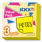 Блок самоклеящийся бумажный Stick`n 27094 76x76мм 100лист. 70г / м2 желтый неон 1цв.в упак.  (упак.:3шт)