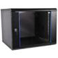 Шкаф телекоммуникационный настенный разборный 6U  (600х350) дверь стекло,  цвет черный