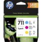 Cartridge HP 711,  набор струйных картриджей DesignJet,  3*29 мл для DJ T120 / T520  (CZ130A+CZ131A+CZ132A),  голубой / пурпурный / желтый
