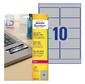 Этикетки Avery Zweckform L6012-20 A4 96x50.8мм 10шт на листе / 196г / м2 / 20л. / серебристый самоклей. для лазерной печати