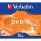 Verbatim Диск DVD-R 4.7Gb 16x Jewel Case  (5шт) 43519