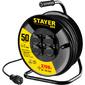 Удлинитель силовой Stayer 55077-50 3x1.5кв.мм 4розет. 50м КГ катушка черный