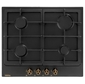 Retro Calabria,  60x51 см,  газовая,  независимая,  электроподжиг,  газ-контроль,  чугунные решетки,  черная,  цвет ручек-бронза
