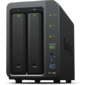 Synology DS718+ QC1, 5GhzCPU / 2Gb (upto6) / RAID0, 1, 10, 5, 6 / up to 2hot plug HDDs SATA (3, 5' or 2, 5') (up to 7 with DX517) / 3xUSB3.0 / 1eSATA / 2GigEth / iSCSI / 2xIPcam (up to 40) / 1xPS / 3YW