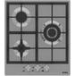 Korting Crystal,  45x51 см,  газовая,  нержавеющая сталь,  независимая,  электроподжиг,  газ-контроль,  чугунные решетки,  в комплекте - подставка WOK и адаптер для кофейника,  цвет-нержавеющая сталь