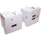 Модуль USB-зарядки,  2 порта,  без шторки,  2.1A / 5V,  45x45,  белый