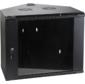 Шкаф настенный угловой,  6U 600x600,  стеклянная дверь,  черный