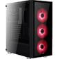 Корпус Aerocool Quartz Red,  ATX,  без БП,  закаленное стекло спереди и сбоку,  3x 12см LED  (красный),  1х 120мм  (черный) в комплекте,  1xUSB 3.0,  2xUSB 2.0