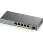 Zyxel GS1350-6HP,  4xGE PoE+,  1xGE PoE++  (802.3bt),  1xSFP,  бюджет PoE 60 Вт,  дальность передачи питания до 250 м,  автоперезагрузка PoE-портов,  повышенная защита от перенапряжений