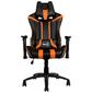 Кресло для геймера Aerocool AC120 AIR-BO, черно-оранжевое, с перфорацией, до 150 кг, размер 70х55х124/132 см