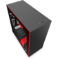 NZXT CA-H710I-BR H710i Mid Tower Black / Red Chassis with Smart Device 2,  3x120,  1x140mm Aer F Case Fans,  2xLED Strips and Vertical GPU Mount